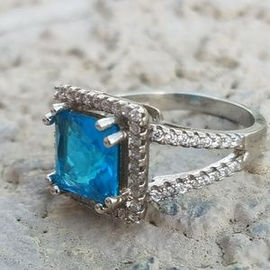 Jewelry - Aquamarine & White Topaz Sterling Silver Ring